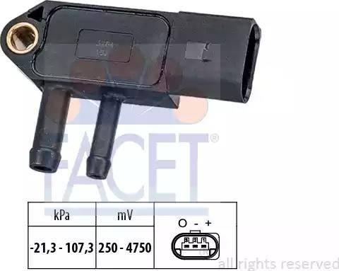 FACET 10.3266 - Датчик, тиск вихлопних газів autozip.com.ua