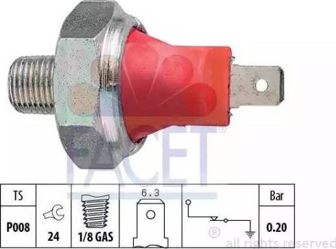 FACET 7.0035 - Датчик тиску масла autozip.com.ua