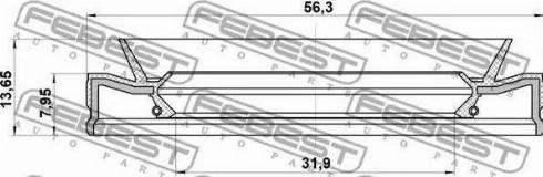 Febest 95HEY-33560814C - Ущільнене кільце валу, автоматична коробка передач autozip.com.ua