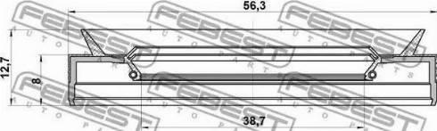 Febest 95PES-40560813C - Ущільнене кільце валу, автоматична коробка передач autozip.com.ua