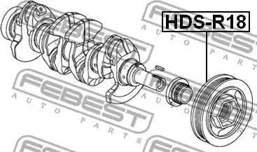 Febest HDS-R18 - Ремінний шків, колінчастий вал autozip.com.ua