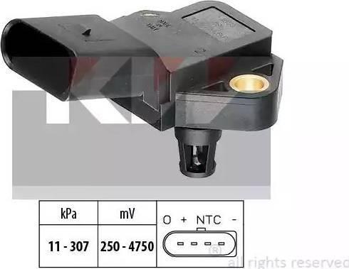 KW 493 075 - Датчик, тиск вихлопних газів autozip.com.ua